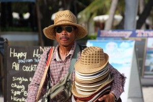 Hutverkäufer am Chaweng Beach auf Koh Samui