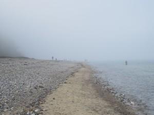 Dänisch-Nienhof Badestrand an einem nebligen Vormittag