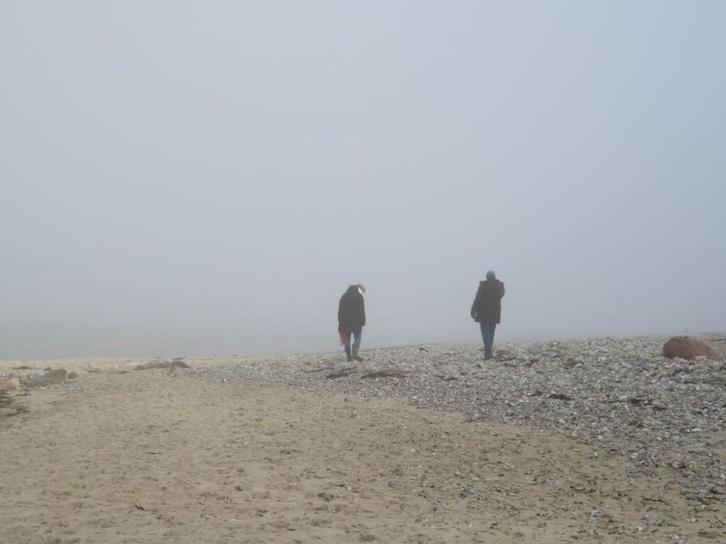 Dänisch-Nienhof Strand an der Ostsee bei Nebel