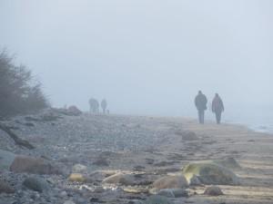Dänisch-Nienhof an der Ostsee Strandspaziergang im Nebel