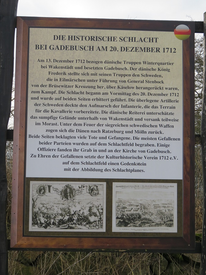 Informationstafel Schlacht bei Gadebusch 1712 in Mecklenburg-Vorpommern