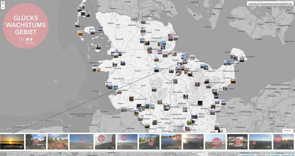"""Screenshot """"Das ist Glück"""" - interaktive Glückskarte von Schleswig-Holstein"""
