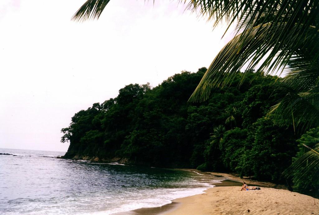 Feiner Sandstrand in einer kleinen Bucht auf Tobago