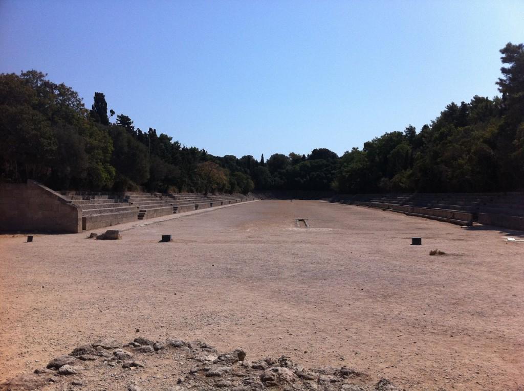 Antikes Stadion auf dem Berg Monte Smith auf Rhodos in der Nähe der Akropolis von Rhodos