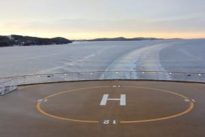Heck der Color Line mit Hubschrauberlandeplatz im Oslofjord