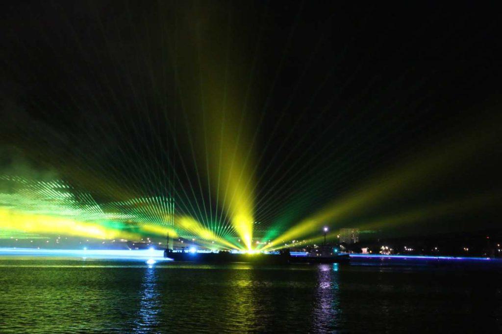 Kieler Woche 2021 Licht- und Lasershow Abschlussfeuerwerk
