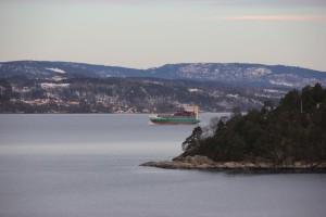 Frachter im Oslofjord
