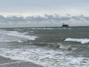 Frachtschiff Kieler Förde Sturm