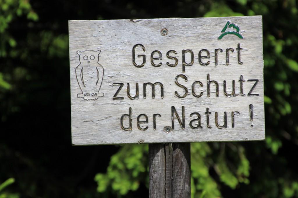 "Hinweis im Wald ""Gesperrt zum Schutz der Natur"""