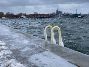 Hochwasser & Eis Kiellinie Kiel
