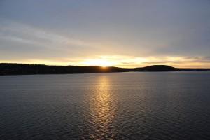 Sonnenaufgang im Oslofjord auf der Fahrt von Kiel nach Oslo