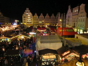 Rostocker Weihnachtsmarkt von oben