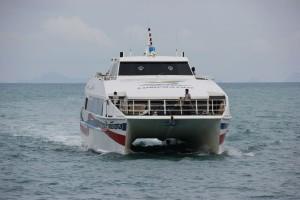 Ankunft der Schnellfähre Nathon Pier Koh Samui - Donsak Pier