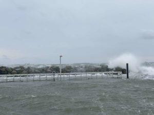 Sporthafen Schilksee Hochwasser Wintersturm 2021