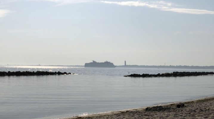 Blick vom Schilkseer Strand: Kieler Förde & Kreuzfahrtschiff
